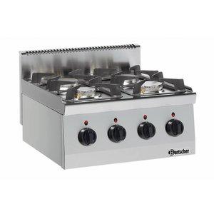 Bartscher 4-Flammen-Gasherd Serie 600 | 3,5kW + 6 Kw | 600x600x (H) 290mm