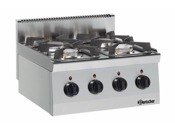 Bartscher 4-Flammen-Gasherd Serie 600   3,5kW + 6 Kw   600x600x (H) 290mm