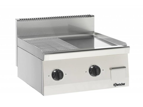 Bartscher Electric griddle - Ribbed / Smooth - 60x60x (h) 29cm - 400V / 7,2kW