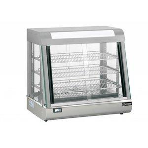 Bartscher Warmhoudvitrine RVS - 3 Roosters - Voor-en Achterzijde Schuifruiten - LED Verlichting - 110L - 660x437x(h)655mm