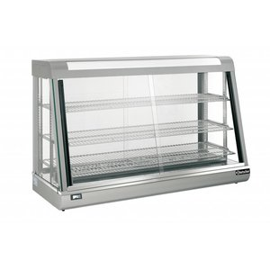 Bartscher Warming Vitrine RVS - 3 Roosters - Front and Rear Sliding window - 373 Liter - 1200x480x (h) 810mm