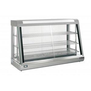 Bartscher Warming Vitrine RVS - 3 Roosters - Vordere und hintere Schiebefenster - 373 Liter - 1200x480x (h) 810mm