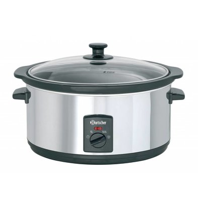 Bartscher Slow Cooker Oval + perforated insert of Ceramics - 6.5 liters