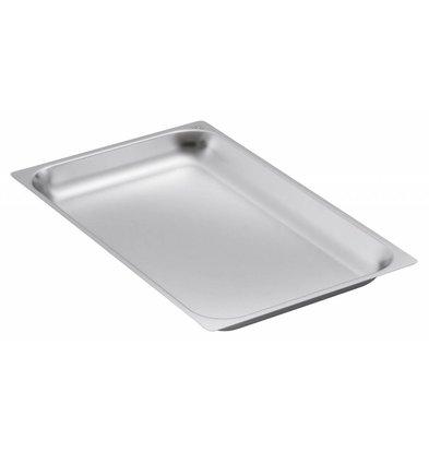 Bartscher GN-bakken, versterkte rand - bakblik 2/1 - GN, 20 mm, CNS 18/10 | 650x530mm