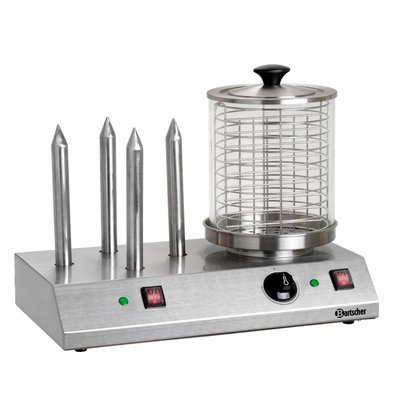 Bartscher Electric Hot dog cooker - 4 heating elements - Stainless Steel - 500x285x (H) 390mm