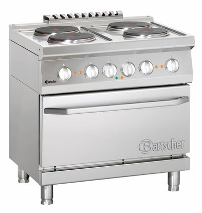Bartscher 4 + Electric Cooking Electric Oven 2/1 GN | 400V | 5,4kW | 800x700x (H) 850-900 mm