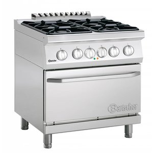 Bartscher Stove 4 Burners + Electric Oven 2/1 GN | 400V | 800x700x (H) 850-900 mm