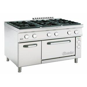 Bartscher Gasfornuis 6 Pits Serie 900 + Elektrische Oven 2/1 GN   400V   1350x900x(H)850-900mm