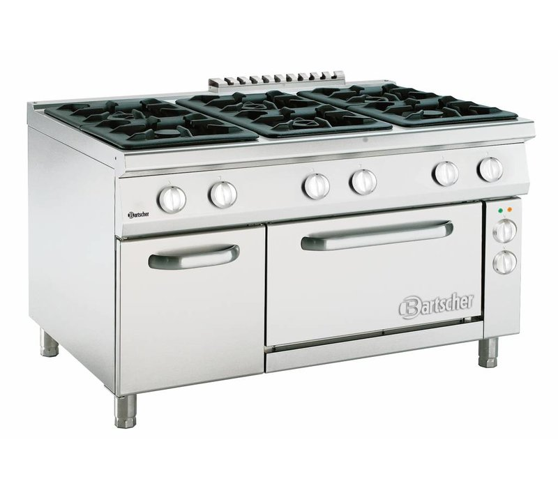 Bartscher Stove 6 Pits Series 900 + Electric Oven 2/1 GN | 400V | 1350x900x (H) 850-900mm