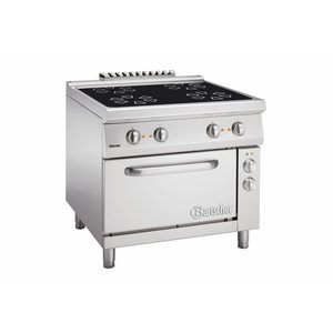 Bartscher Keramisch Fornuis met 4 Kookzones + Elektrische oven 2/1 GN | 400V | 900x900x(H)850-900mm