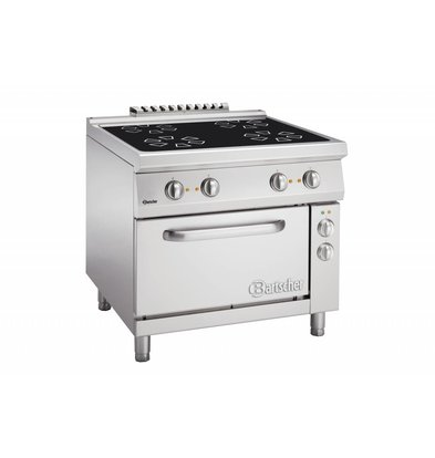 Bartscher Ceramic stove with four cooking zones + electric oven 2/1 GN | 400V | 900x900x (H) 850-900mm