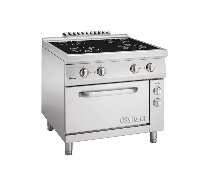 Bartscher Ceramic stove with four cooking zones + electric oven 2/1 GN   400V   900x900x (H) 850-900mm