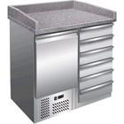 Saro Pizzawerkbank - RVS - 1 deur en 6 lades - 95x70x(h)102cm