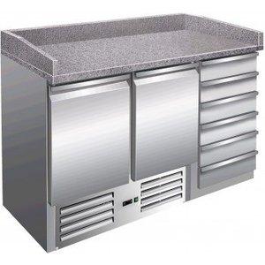 Saro Pizza Workbench - SS - 2 Türen und 6 Schubladen x70x -142 (h) 102cm