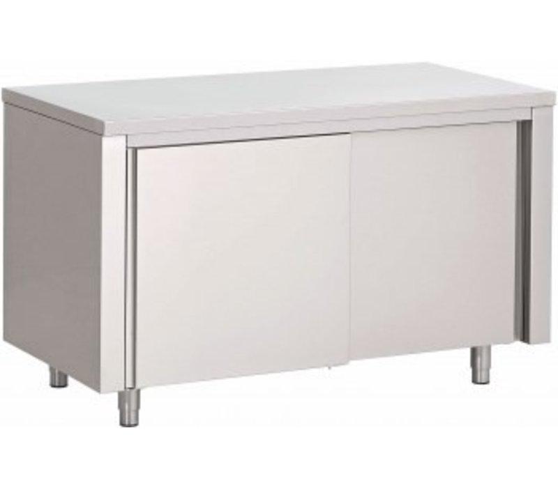 Saro Edelstahl-Schrank mit Schiebetüren   1800x700x850mm