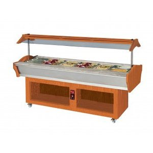 Saro Saladebar warm 4 x 1/1GN Walnoot