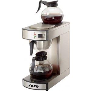 Saro Edelstahl Kaffeemaschine | 1,8 Liter | Incl. 2 Gläsern | 2,1kW | 195x365x (H) 445mm