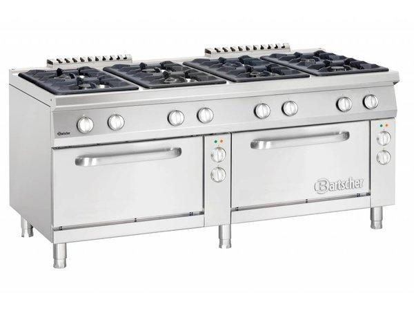 Bartscher Gasfornuis 8 Pits + Elektrische Ovens 2/1 GN | 400V | 1800x900x(H)850-900mm