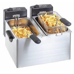 Bartscher Dubbele Frituur | 2x4 Liter | 2x2,2kW | 400x400x(H)280mm