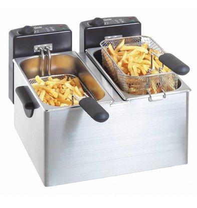 Bartscher Double Fryer | 2x4 Liter | 2x2,2kW | 400x400x (H) 280mm