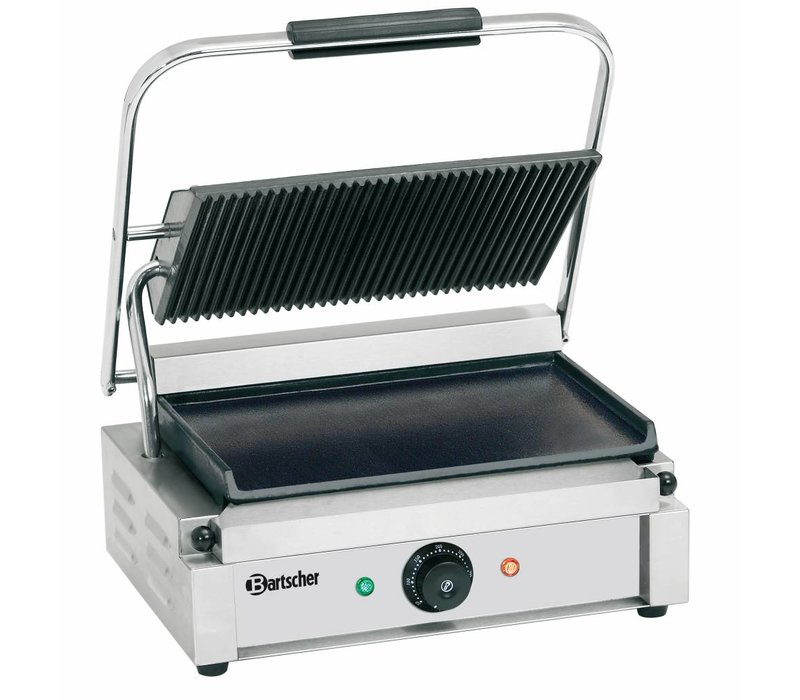 """Bartscher Electrische contact grill """"Panini"""" - Geribd/Glad - 41x37x(h)20 - 2200W"""