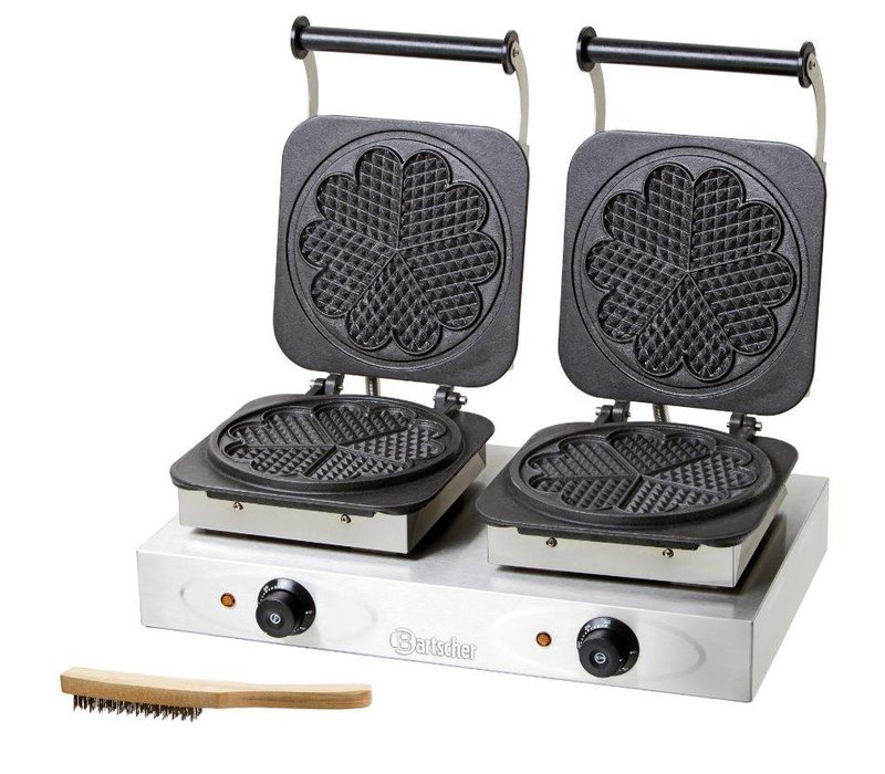 Bartscher Double Waffle maker - with Table_Chefs in Heart Shape - 600x360x (h) 230mm - 2.2KW