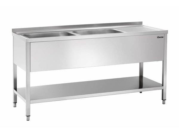 Bartscher Sink - zwei Eimer 500x500x250 (H) mm - 1600x700x850-900 (h) - Luxuriöse Scotch-Brite Polieren