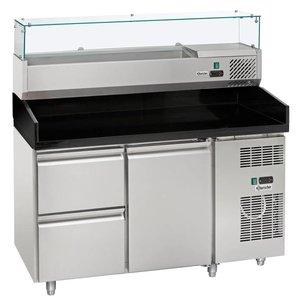 Bartscher Pizzawerkbank - RVS - 1 deur en 2 lades - 140x70x(h)139cm - Met Koelopzetvitrine 6x 1/4 GN