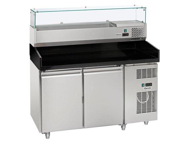 Bartscher Pizza Workbench - RVS - zwei Türen - 140x70x (h) 139cm - inkl. Kühlstruktur Showcase 6x 1/4 GN