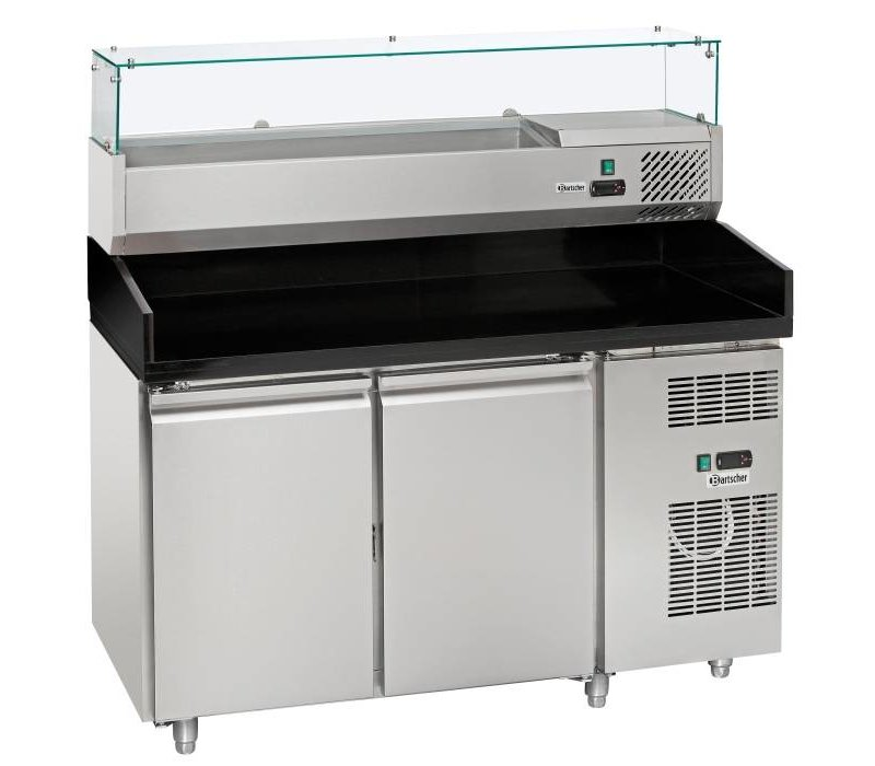 Bartscher Pizza Workbench - RVS - two doors - 140x70x (h) 139cm - incl. Cooling Structure Showcase 6x 1/4 GN
