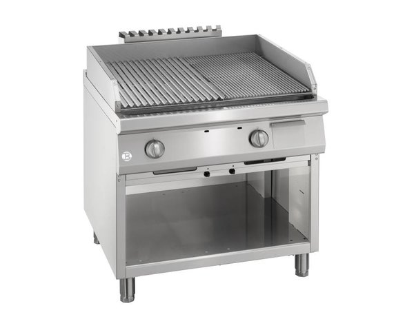 Bartscher Gas Lava Stone Grill - Open Substructure - with V Rooster - 90x90x (h) 85 / 90cm - 22KW