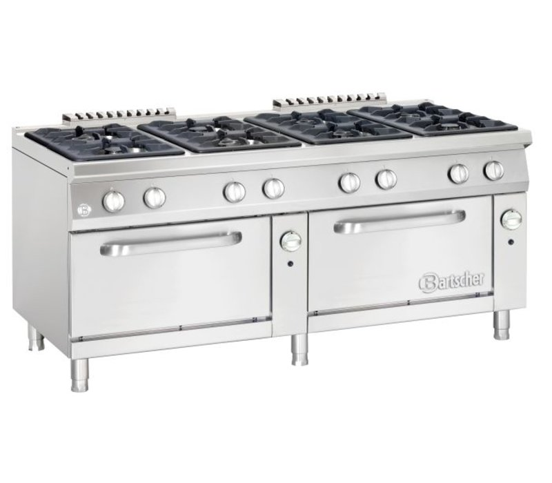 Bartscher Pits stove 8 + 2 Gas ovens GN 2/1 Series 900 | 1800x900x (H) 850-900mm