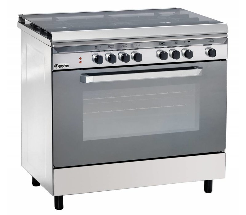 Bartscher Stovetop 5 Seeds + Electric Oven Stainless Steel + Electric Grill | 230V | 900x600x (H) 850/900 mm