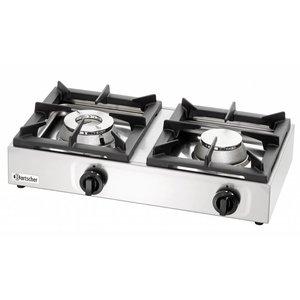 Bartscher Gas kooktafel | 2 branders 6,5 Kw + 4,5 Kw | 660x350x(h)170mm | Propaan