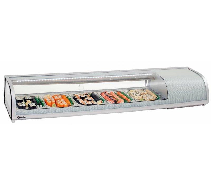 Bartscher Sushi Vitrine | Zilverkleurig Kunststof | Glazen Schuifdeuren | 5 x 1/2 GN | 1800x425x(H)295mm