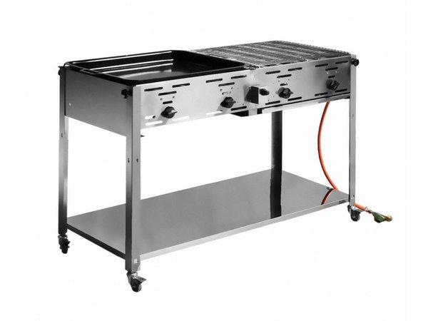Hendi Gas Hendi 154 908 | Grill-Meister Grill Quatro + 2 Grill & Termine 1 Bratpfanne | 1270x525x (H) 840mm