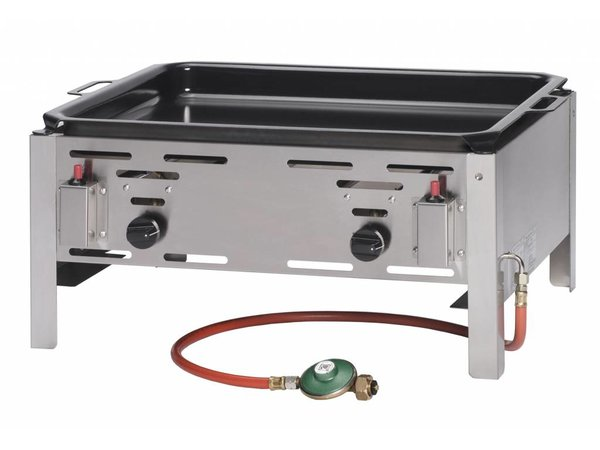 Hendi Gas-Grill Hendi 154.618 Bake Master-Maxi | Bratpfanne Grilltischplatte | Komplett mit Zubehör