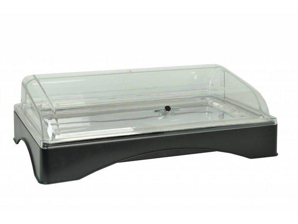 Hendi Kühlvitrine   GN 1/1   einschließlich Edelstahl-Hochebene   Kälte-Akku   PC Haube   555x357x (H) 175 mm