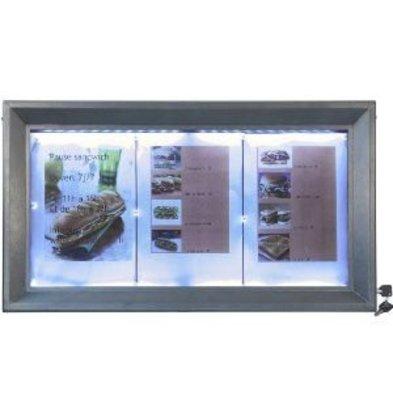 Securit Menü Schrank mit LED-Beleuchtung - lackierter Stahl - 3xA4