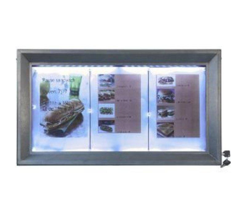Securit Menü LED-Kabinett lackierter Stahl | 3xA4