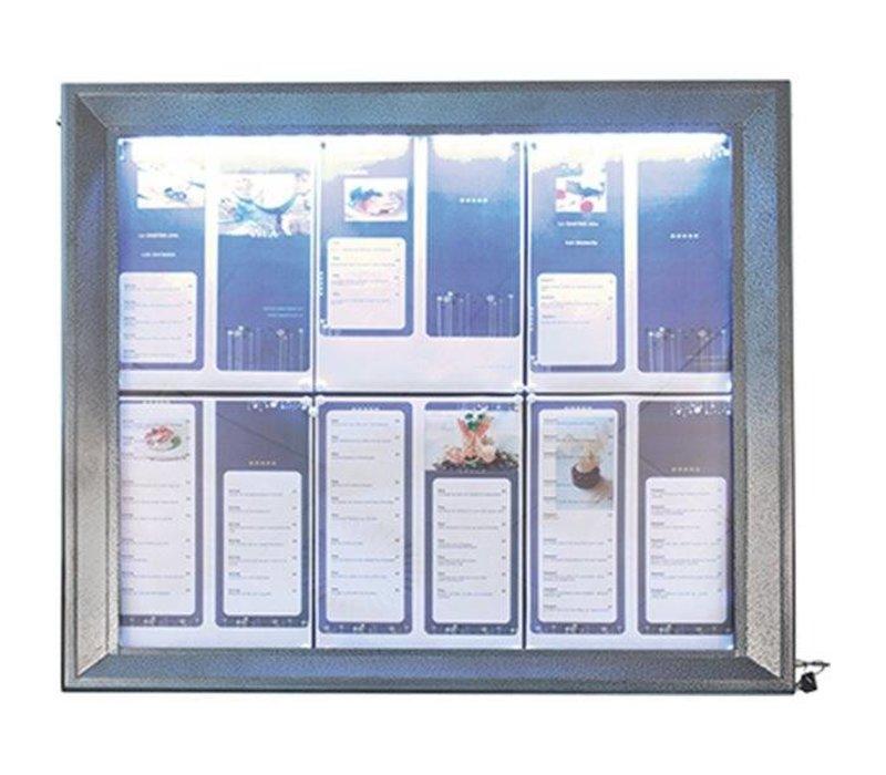 Securit Menu LED-Kabinett-lackierter Stahl | 6xA4
