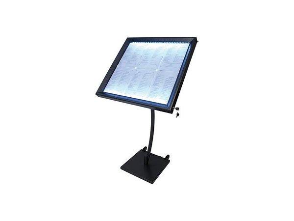 Securit Menukast LED Gelakt Staal | 6xA4
