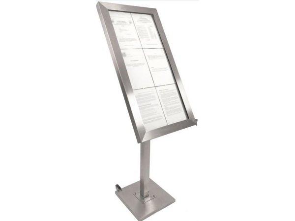 Securit Menu Schrank mit LED-Beleuchtung - Edelstahl DELUXE - 6xA4 - VIDEO