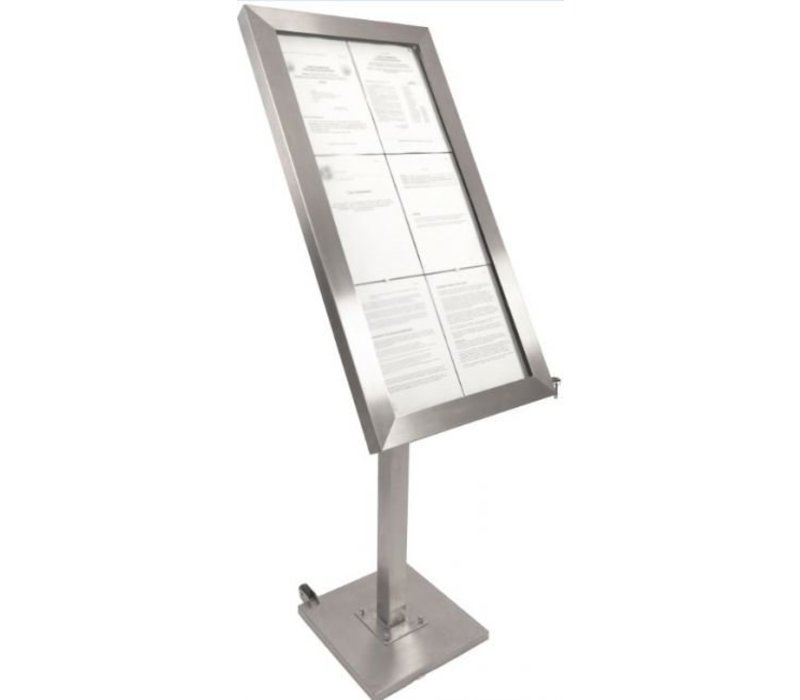 Securit Menu cabinet with LED lighting - Stainless steel DELUXE - 6xA4 - WATCH VIDEO