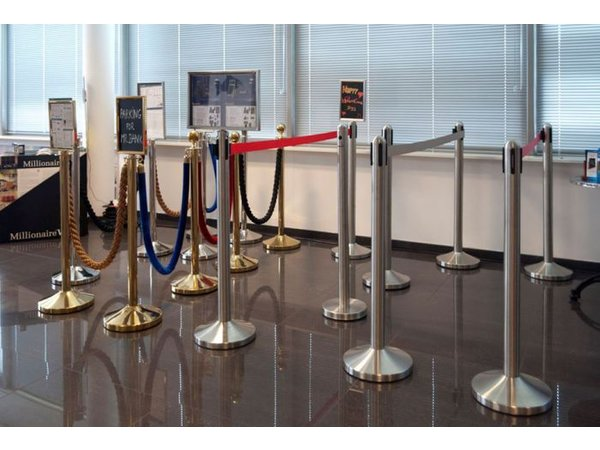 Securit Barrier Post Classic Chrome 13 kg - Height 1m - HEAVY DUTY - XXL OFFER!