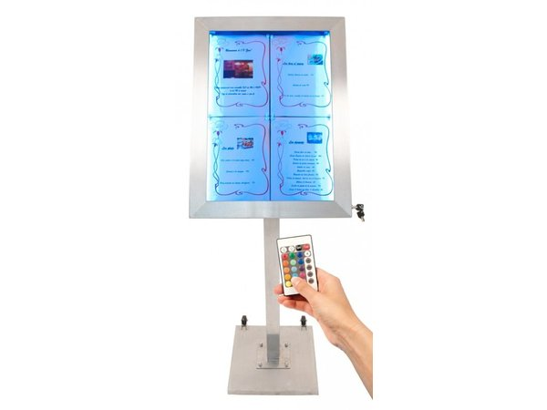 Securit Menu Cabinet LED Stainless Steel Deluxe | 4xA4 - COMPLETE SET