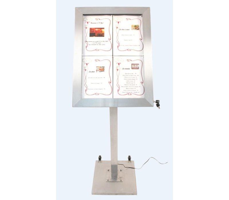 Securit Menu Kabinett LED-Edelstahl-Deluxe | 4xA4 - komplettes Set