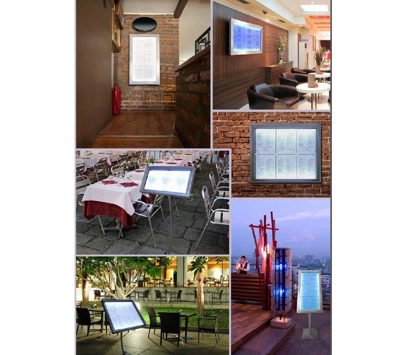 Securit Menukast LED RVS Deluxe   6xA4 - COMPLETE SET
