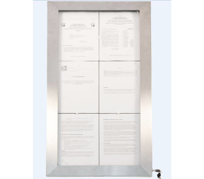 Securit Menu Cabinet LED Stainless Steel Deluxe | 6xA4 - COMPLETE SET