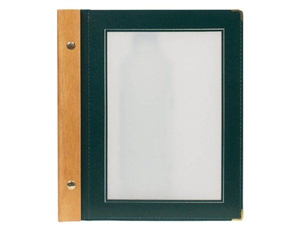 Securit Menu folder Green - Wood A5